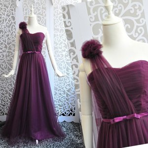 ショルダードレス ロングドレス スレンダーライン 全5色 ワンショルダー パーティードレス ワンピース ブライズメイド ピンク グレー パープル|fullgrace