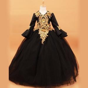 ブラック ロングドレス  フォーマル ワンピース キッズ服 子供服 大きいサイズ 小さいサイズ 女の子 オペラ声楽 中世貴族風 子ども 大人用サイズ指定OK|fullgrace