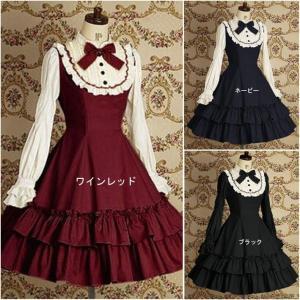 Lolitaドレス 復古風 可愛い演出服 ゴシック系 長袖 ...