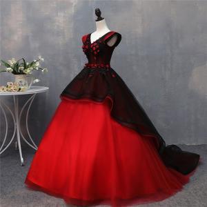 ba40b1a30a94c ロングドレス 演奏会 ドレス ロング ステージ 赤×黒 ウエディングドレス ロングドレス パーティードレス