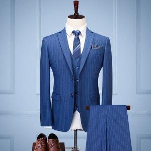 メンズスーツ ストライプ 結婚式 セットアップ メンズ おしゃれスーツ スリーピーススーツ 3点セット リクルートスーツ おしゃれスーツ|fullgrace