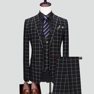 メンズスーツ ビジネススーツ スリム セットアップ メンズ おしゃれスーツ スリーピーススーツ 3点セット オフィススタイル チェック柄|fullgrace