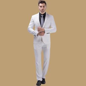 ベスト追加可 大きいサイズ 紳士服 メンズスーツ ビジネススーツ 1ツ釦 スリムバージョン 1ボタンビジネススーツ 男性用 2点セット ホワイトスーツ|fullgrace
