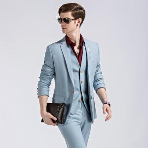 大きいサイズ 紳士服 ベスト付き メンズスーツ ビジネススーツ 1ツ釦 スリムバージョン 1ボタンビジネススーツ 男性用 メンズスーツ 3点セット ブルースーツ|fullgrace