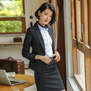 2点セット スカートスーツ 大きいサイズ シャツ追加可 ビジネススーツ スーツ  オフィス ビジネス 大きいサイズ 通勤 OL フォーマル ブルー ブラック|fullgrace