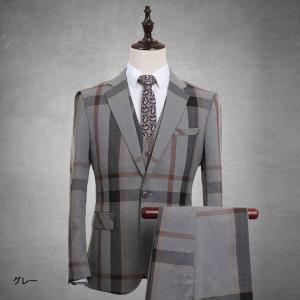 ネイビー スーツ 1ボタン  ベスト追加可 メンズスーツ スリム メンズスーツ チェック柄   ビジネススーツ ベスト 紳士服 suit グレースーツ|fullgrace