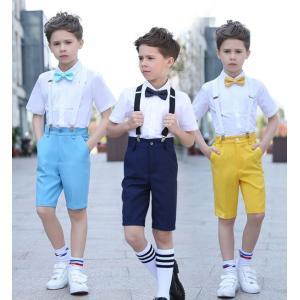 シャツスーツ 卒業式スーツ 男の子 フォーマル 3点セット カバーオール 半袖スーツ 男の子 全6色 スーツ キッズ フォーマル 男の子dt683f0|fullgrace