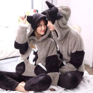 ペンギン ペアパジャマ ルームウェア もこもこ ルームウェア パジャマ 可愛い ルームウェア レディース ルームウェア 上下セット 冬 長袖 パジャマ fullgrace