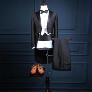 タキシードセット 4点セット メンズスーツ タキシードスーツ 大きいサイズ 合唱 燕尾服 結婚式 花婿スーツ パーティ 魔術師 演奏会 発表会|fullgrace