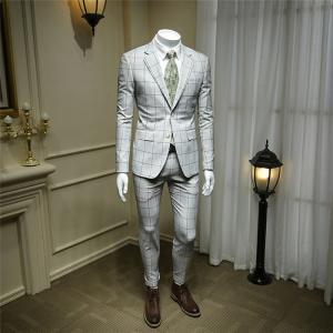 春夏秋 メンズスーツ スリム スリーピース 2ツボタン チェック柄 ビジネススーツ suit セットアップ スリムスーツ 紳士 フォーマルスーツ|fullgrace
