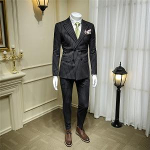 メンズスーツ スリム スリーピース 2ツボタン ストライプ柄ビジネススーツ suit セットアップ スリムスーツ 紳士 フォーマルスーツ 大きいサイズ|fullgrace
