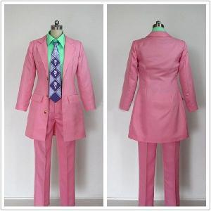 吉良吉影 コスプレ衣装 ジョジョの奇妙な冒険 コスプレ衣装 吉良吉影 コスプレ衣装 ピンク版|fullgrace