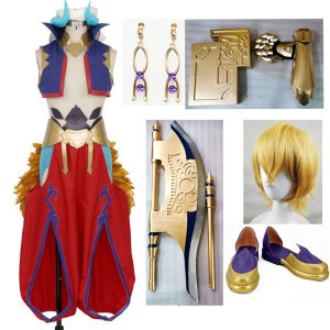 Fate/Grand Order 絶対魔獣戦線 バビロニア ギルガメッシュ コスプレ衣装 靴 ウィッグ 斧 本 翼 腕鎧追加可|fullgrace