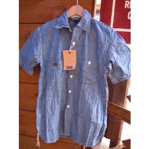 エフオービーファクトリーシャンブレーワークシャツF.O.B FACTORY H/S NAVY|fullnelsonhalf