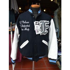 FULLNELSON別注 DeLong Award Jacket デロング スタジャン NAVY×WHITE|fullnelsonhalf