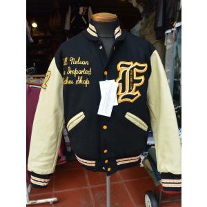 FULLNELSON別注 DeLong Award Jacket デロング スタジャン BLACK×CREAM|fullnelsonhalf