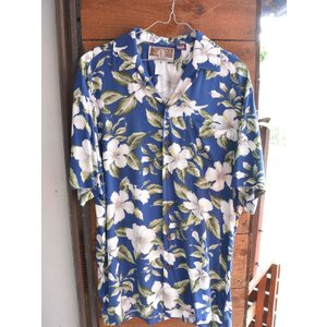 Made in USA Kalaheo by Robert J. Clancey Aloha Shirts レーヨンアロハシャツ Hibiscus Flowers NAVY|fullnelsonhalf