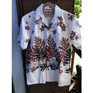 Made in USA Robert J. Clancey Aloha Shirts コットンアロハシャツ leaf WHITE|fullnelsonhalf
