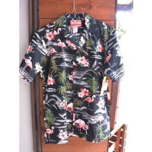Made in USA Robert J. Clancey Aloha Shirts コットンアロハシャツPink Flamingo Black|fullnelsonhalf