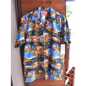 Made in USA Robert J. Clancey Aloha Shirts コットンアロハシャツWaimea Bay Navy|fullnelsonhalf