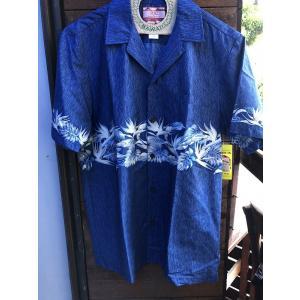 Made in USA Robert J. Clancey Aloha Shirts コットンアロハシャツ wood BLUE|fullnelsonhalf