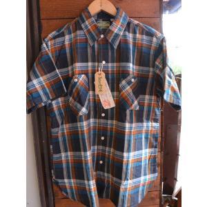 シュガーケーン マドラスチェックシャツSUGARCANE Light MADRAS CHECK S/S SHIRTS  NAVY|fullnelsonhalf