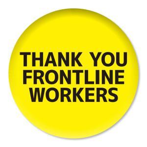 缶バッジ THANK YOU FRONTLINE WORKERS イエロー 57mm ピン 【3】介護・医療従事者に感謝缶バッチ 缶バッヂ (ネコポス可)|fun-create