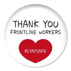 缶バッジ THANK YOU FRONTLINE WORKERS #STAYSAFE レッドハート小 57mm ピン 【6】介護・医療従事者に感謝缶バッチ 缶バッヂ (ネコポス可)|fun-create