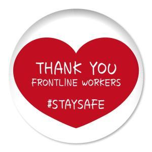 缶バッジ THANK YOU FRONTLINE WORKERS #STAYSAFE レッドハート大 32mm ピン 【10】介護・医療従事者に感謝缶バッチ 缶バッヂ (ネコポス可)|fun-create