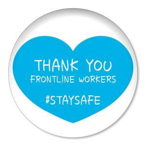 缶バッジ THANK YOU FRONTLINE WORKERS #STAYSAFE ブルーハート大 32mm ピン 【18】介護・医療従事者に感謝缶バッチ 缶バッヂ (ネコポス可)|fun-create