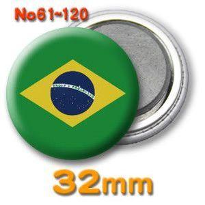缶バッジ(世界の国旗)マグネット32mm 61〜120 (ネコポス可) |fun-create