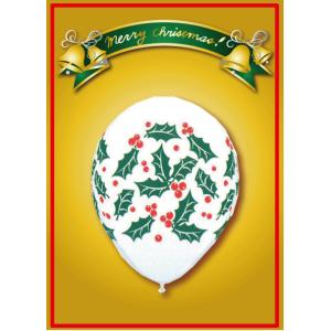 Qualatex クリスマス ホーリー&ベリー ホワイト 10個入り|funari