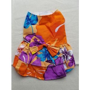 アロハドレス(ワンピース)オレンジ犬服 1号サイズ|funfunhomes