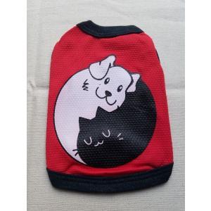 犬猫太極図 赤色犬服 0号サイズ|funfunhomes