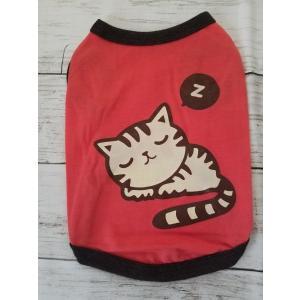 猫プリント 赤色犬服 2号サイズ|funfunhomes