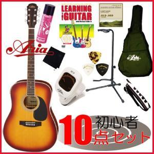 初心者の方にオススメ! 限定!アコギ入門セット ARIA / ADW-200 TS /ドレッドノート・タイプ /アリア・アコースティックギター・豪華10点セット!|funhoused
