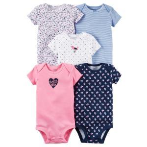 カーターズ Carter's ロンパース ボディスーツ 半袖 5枚セット 126G330 コットン 綿 100% 女の子用 6M 9M 12M ベビー服 新生児|funks-store