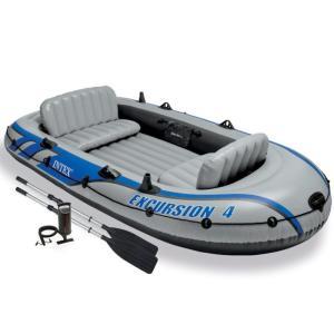 ゴムボート 4人乗り インテックス エクスカーション4 INTEX EXCURSION4 オール付 ポンプ付 クッション付 船外機 取付可 COSTCO コストコ