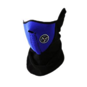 X-PORTS フェイスマスク ブルー 青 ハーフマスク 防風 防雪 防寒 イヤーガード付 フリース|funks-store