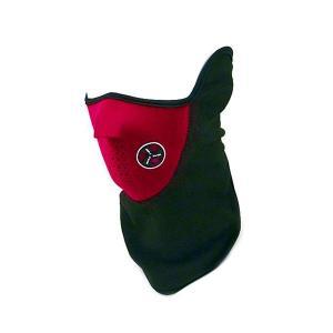 X-PORTS フェイスマスク レッド 赤 ハーフマスク 防風 防雪 防寒 イヤーガード付 フリース|funks-store