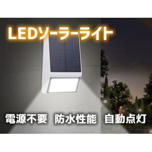 LEDライト ソーラー充電式 エコ 自動点灯 屋外照明 壁掛け式 防水(IP65)太陽光発電 SLED015 funlife