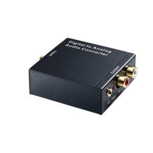 オーディオ変換器 デジタルからアナログ変換 DAコンバーター TOSLINK入力 コンポジット出力 USB、光ケーブル付き 3.5mm出力 イヤホン対応 DACSET35M|funlife