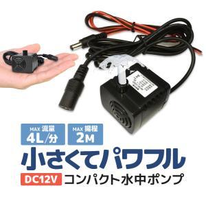 汎用ミニ水中ポンプ DC12V 小型ブラシレスポンプ 静音設計 ウォーターポンプ 流量280L/h 最大揚程2m 交換用取水口 電源コード付 PAD400 funlife