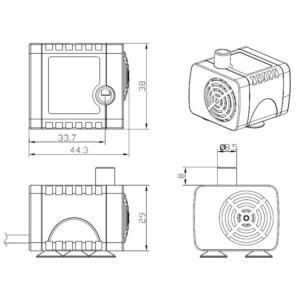 汎用ミニ水中ポンプ DC12V 小型ブラシレスポンプ 静音設計 ウォーターポンプ 流量280L/h 最大揚程2m 交換用取水口 電源コード付 PAD400|funlife|06