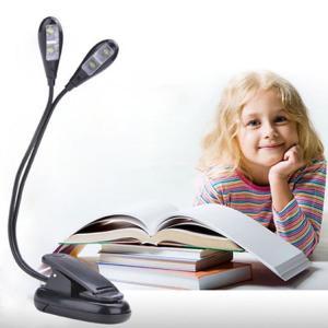 クリップ型フレキシブルスタンドライト 2本 4灯LED ブックライト 譜面台ライト 持ち運びも便利 方向調節自由 乾電池またUSB給電 点灯調節可 四灯 BOOKL22|funlife