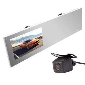 ルームミラー型ドライブレコーダー+バックカメラセット 超薄 4.3インチ タッチパネル操作 バックカ...
