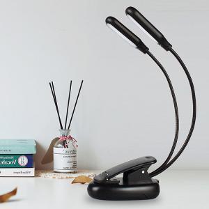 クリップ型フレキシブルスタンドライト 5灯LED 2個 ブック 持ち運び便利 方向調節自由 USB充電 点灯調節 暖色/白色切替可 充電式10LED譜面台 BOOKUSB55|funlife