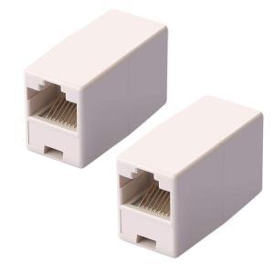 LANケーブル用中継 RJ-45延長コネクタ LANケーブル中継 コンパクト ギガビット 長さが足りない時に継ぎ足し メス-メス 2個セット アイボリー限定 RJ45CSET2の画像