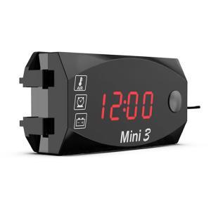 バイク用デジタルメーター 電圧計/温度計/時計 3in1 防水 防塵 悪天候も安心 LEDインジケー...