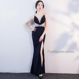 レディース ロングドレス 2019 新品 Vネックドレス イブニングドレス 発表会 忘年会  映画祭
